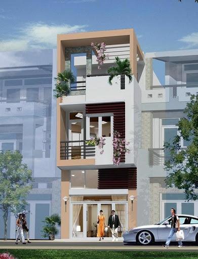 Nhà phố 3 tầng thiết kế mái bằng đơn giản nhưng sang trọng