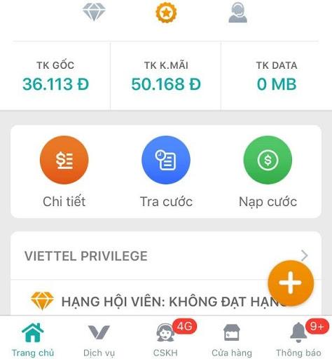 Để mở khóa sim Viettel khi nạp sai 5 lần, bạn nhấn vào phần Nạp cước khi truy cập vào ứng dụng My Viettel